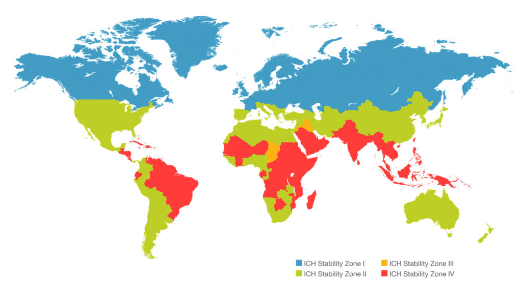 Map showing ICH conditions in different parts of the world